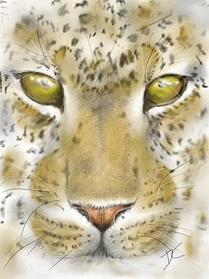 Digital Art - Cheetah Face by Darren Cannell
