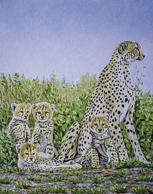 Painting - Cheetah Family  by Manuel Lopez