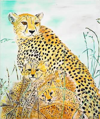 Painting - Cheetah Family by Valerie Ornstein