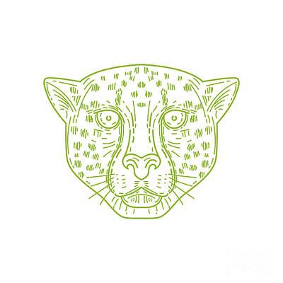 Cheetah Digital Art - Cheetah Head Mono Line by Aloysius Patrimonio