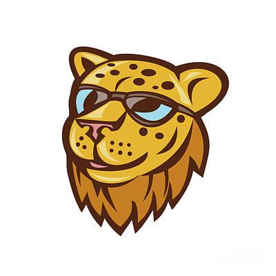 Cheetah Digital Art - Cheetah Head Sunglasses Smiling Cartoon by Aloysius Patrimonio