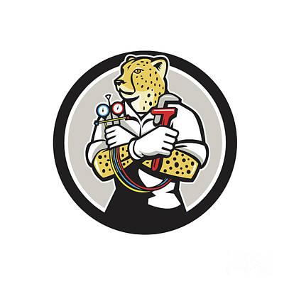 Cheetah Digital Art - Cheetah Heating Specialist Circle Cartoon by Aloysius Patrimonio