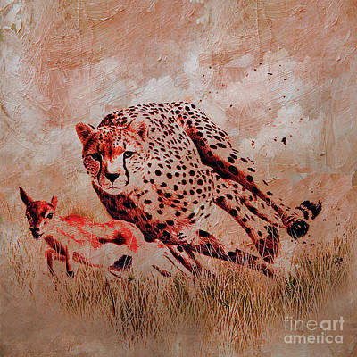 Gazelle Painting - Cheetah Hunting by Gull G