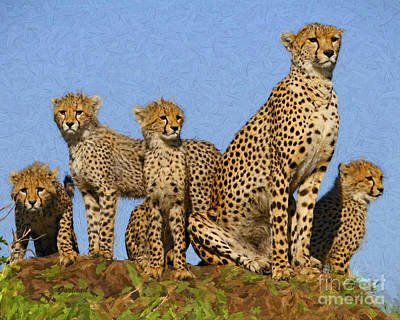 Cheetah Mixed Media - Cheetah Mom And Her Four Cubs by Garland Johnson