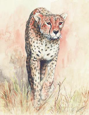 Cheetah Running Art Print by Morgan Fitzsimons