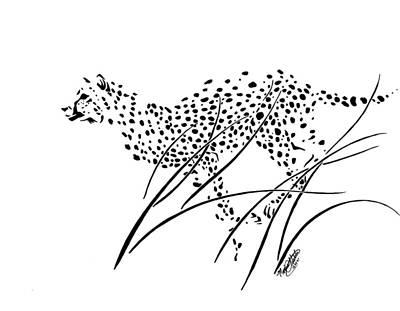 Cheetah Drawing - Cheetah Running Through Long Grass by Monica Webster
