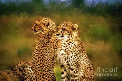 Cheetah Digital Art - Cheetah Siblings by Tina LeCour