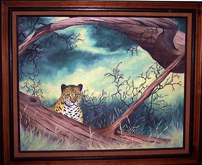 Cheetah Stare- Oil Done At 12 Years Old Art Print by Carol Cavalaris