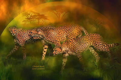 Giclee Mixed Media - Cheetah World by Carol Cavalaris