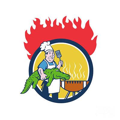 Alligator Digital Art - Chef Alligator Spatula Bbq Grill Fire Circle Cartoon by Aloysius Patrimonio