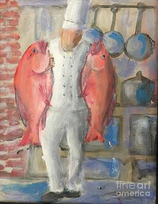 Painting - Chef And Fish by Mark Macko