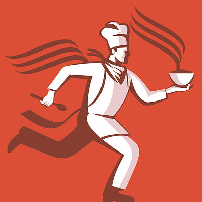 Chef Cook Baker Running With Soup Bowl Art Print by Aloysius Patrimonio