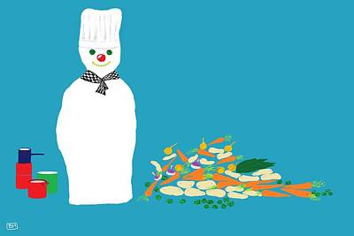Digital Art - Chef Snowman by Barbara Moignard