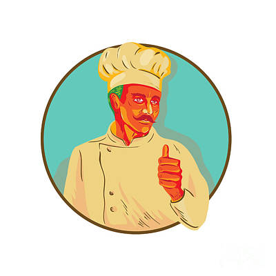 Public Administration Digital Art - Chef With Mustache Thumbs Up Circle Wpa by Aloysius Patrimonio