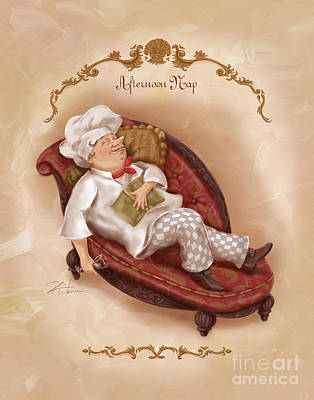 Mixed Media - Chefs On A Break-afternoon Nap by Shari Warren