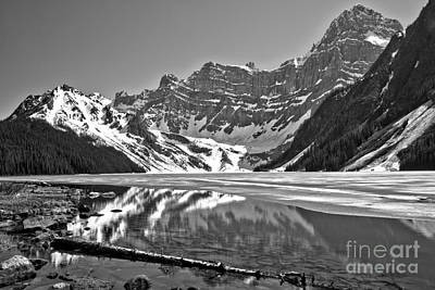 Photograph - Chehren Lake Reflections Black And White by Adam Jewell