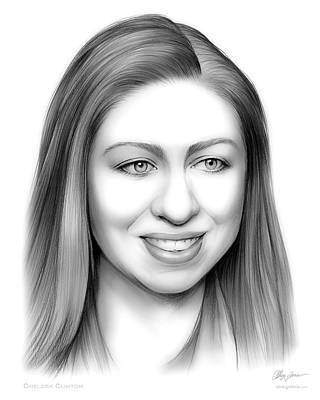 Politicians Drawings - Chelsea Clinton by Greg Joens