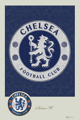 Digital Art - Chelsea F C - 3 D Badge Over Vintage Logo by Serge Averbukh