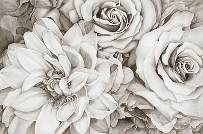 Digital Art - Chelsea's Bouquet - Neutral by Lori Taylor