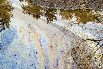 Photograph - Chemical Oil Spill On Water by John Williams