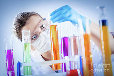 Professional Photograph - Chemical Technologist Holds Coloured Substance In A Tube. by Michal Bednarek