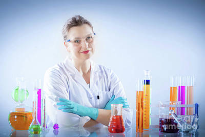 Photograph - Chemical Technologist In Laboratory Environment. by Michal Bednarek