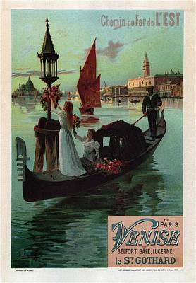 Royalty-Free and Rights-Managed Images - Chemin de Fer de Lest - Venise, Italy - Retro travel Poster - Vintage Poster by Studio Grafiikka
