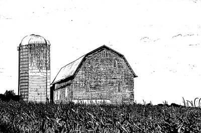 Photograph - Chemung County Barn Sketch 01 by Jim Dollar