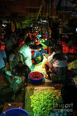Real Life Photograph - Chennai Flower Market Stalls by Mike Reid