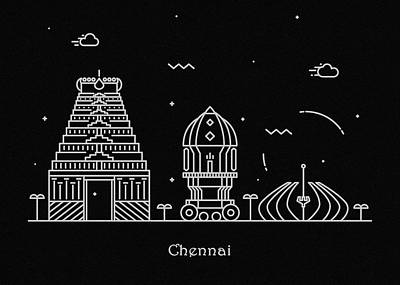 Temple Drawing - Chennai Skyline Travel Poster by Inspirowl Design
