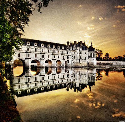 Photograph - Chenonceau Castle In The Twilight - Hard Contrast Painting by Weston Westmoreland