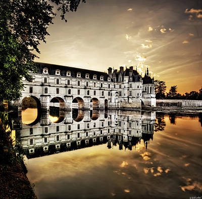Photograph - Chenonceau Castle In The Twilight - Hard Contrast Version by Weston Westmoreland