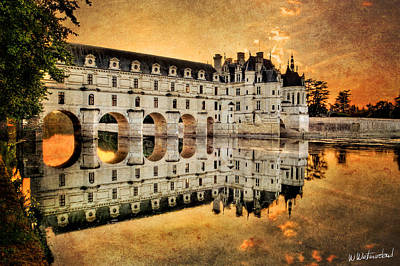 Photograph - Chenonceau Castle In The Twilight - Vintage Version by Weston Westmoreland