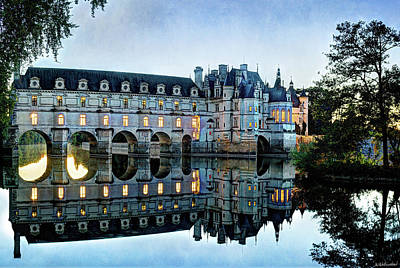 Photograph - Chenonceau Twilight In Blue Closer- Vintage Version by Weston Westmoreland