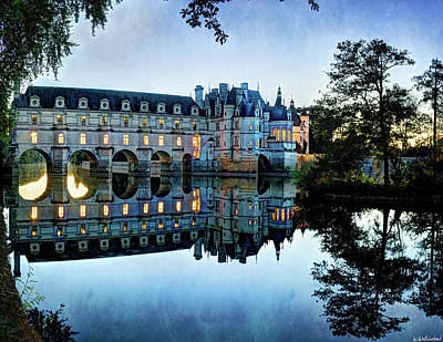 Chenonceau Twilight In Blue - Vintage Version Art Print