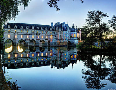 Photograph - Chenonceau Twilight In Blue by Weston Westmoreland