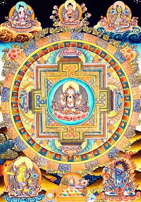 Vajrayana Painting - Chenrezig Mandala by Lanjee Chee
