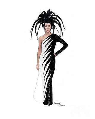 Icon Drawing - Cher-electric Feathers Costume by Donna  Schellack