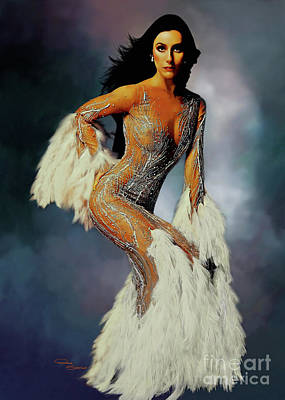 Time Magazine Painting - Cher White Feathers by Donna  Schellack