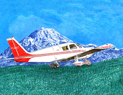 Painting - Cherokee 6 Circling Mount Rainier by Jack Pumphrey
