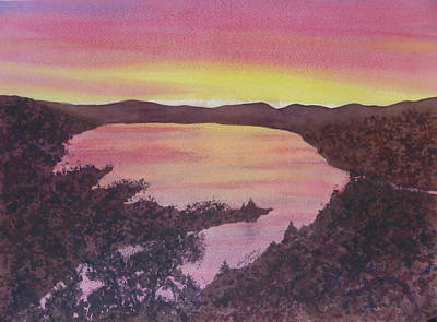 Art Print featuring the painting Cherokee Lake Sunset Number Seven by Joel Deutsch