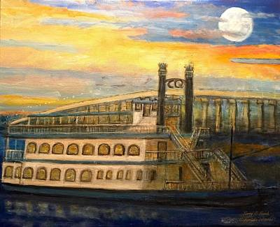 Cherokee Queen Sailboat Bridge Grove Oklahoma  Original by Larry Lamb