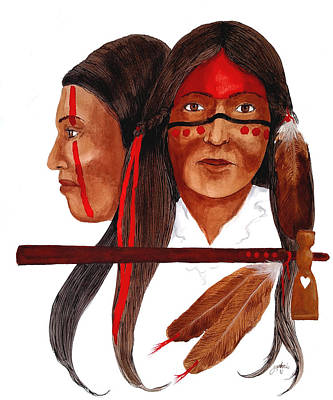 Mixed Media - Cherokee War Women by John Guthrie