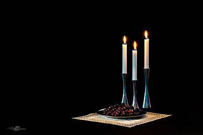 Cherries And Candles In Steel Art Print by Torbjorn Swenelius