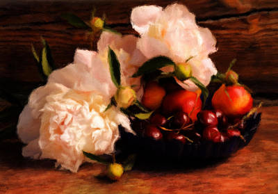 Wood Wall Hanging Mixed Media - Cherries And Peonies  by Georgiana Romanovna