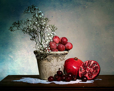 Cherries And Pommegranates Art Print by Levin Rodriguez