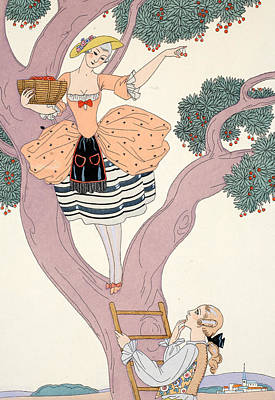 Beaux Arts Painting - Cherries by Georges Barbier