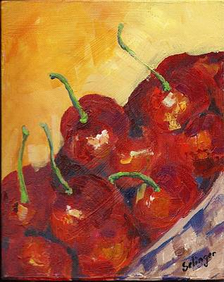 Painting - Cherries In A Basket by Kathie Selinger