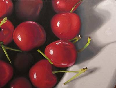 Painting - Cherries In A Bowl by Kathy Lumsden