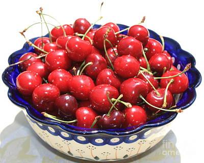 Cherries In Blue Bowl Print by Carol Groenen